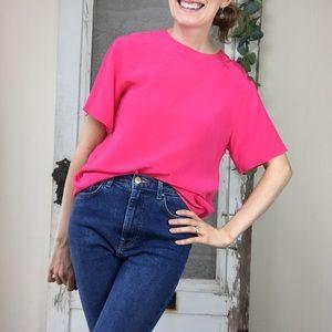 Vintage Anna and Frank Silk Short Sleeve Blouse S